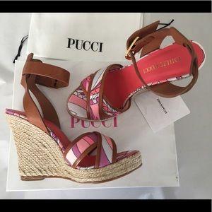 Emilio Pucci Brown Platform Wedge Sandal Sz 7
